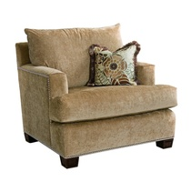 Santa Barbara Chair shown with:Knife Edge Back PillowBoxed T-Seat CushionTrack ArmTraditional legs in Sumatra finishSilver nailhead frame trim