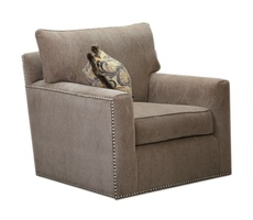 Santa Barbara Chair shown with:Knife Edge Back PillowBoxed straight cushionTrack ArmBuilt-to-the-floor baseNailhead frame trim