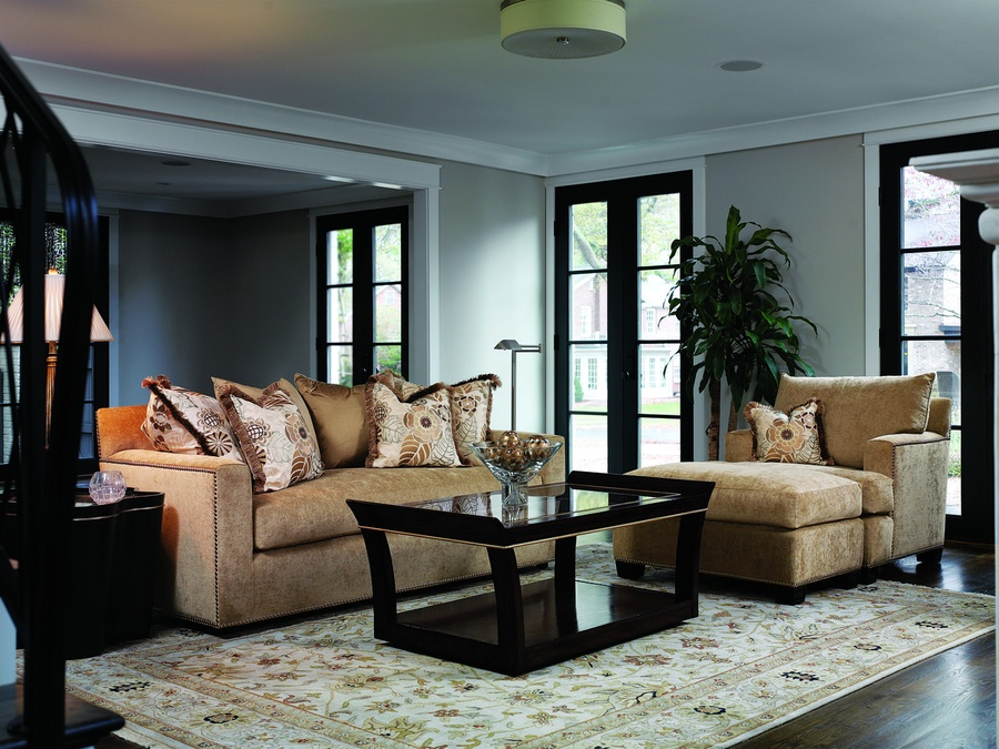 Santa Barbara Sofa (Fitted Back) shown with:Boxed bench seatTrack ArmBuilt-to-the-floor baseSilver nailhead frame trim