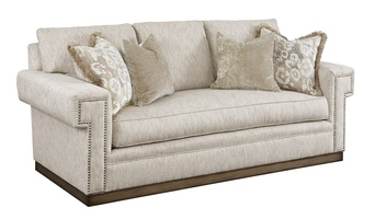 Santa Barbara Sofa (Fitted Back) shown with:Boxed benchGreek Key ArmPlinth base in Bronzed Silver finishPewter nailhead frame trim(2) Optional additional pillows