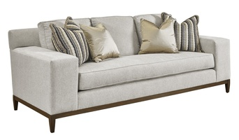 Santa Barbara Sofa (Fitted Back) shown with:Boxed benchContemporary Track ArmContemporary Leg in Bombay finish(2) Optional additional pillows