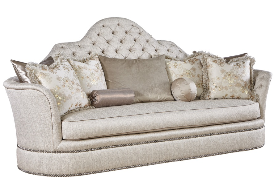 Sultan Sofa shown with:Boxed benchSilver Star Button tufted inside backBuilt-to-the-floor base with bandSilver Star nailhead frame trim