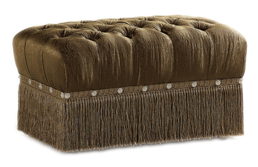 Tara Ottoman shown with:Button tufted seatBullionDecorative button detail