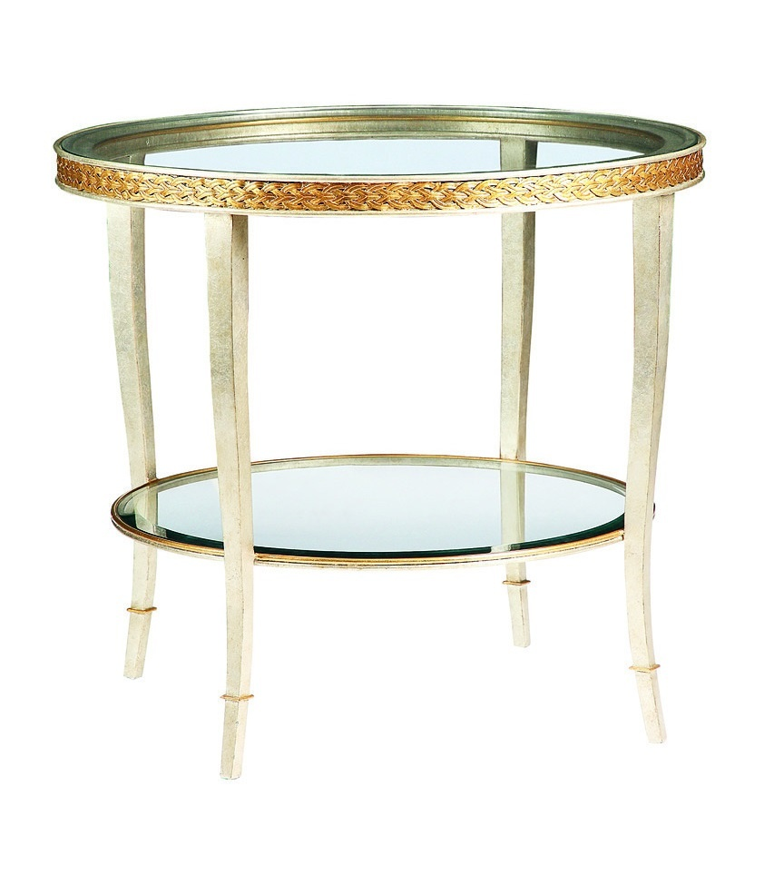 Tango End Table shown with:Deco Silver finishSpecialty Leaf finish trim Clear inset glass top and shelf with beveled edge