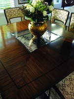 Tango Square Dining Table shown with:Contemporary Briar finishEbony Paint finish trim