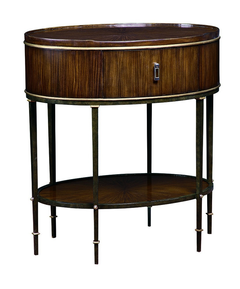 Tango Nightstand shown with:Contemporary Briar finishMedici Leaf finish trimMetal base in Aged Metal finish withMedici Leaf finish trimPolished Brass and Polished Nickel hardware