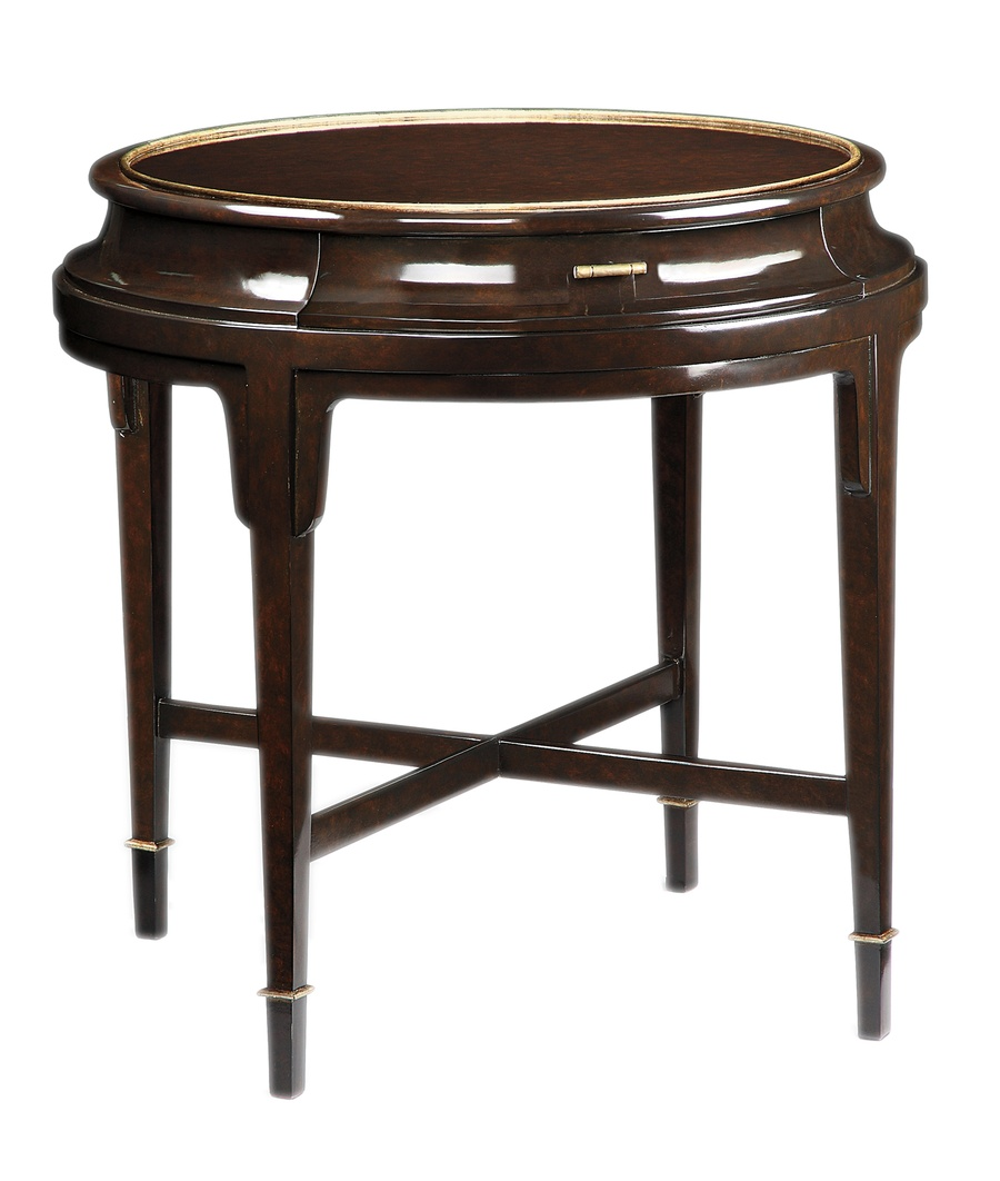 Tao Round End Table shown with:Sumatra finish withBurnished Silver Leaf trimMedici Nickel hardware