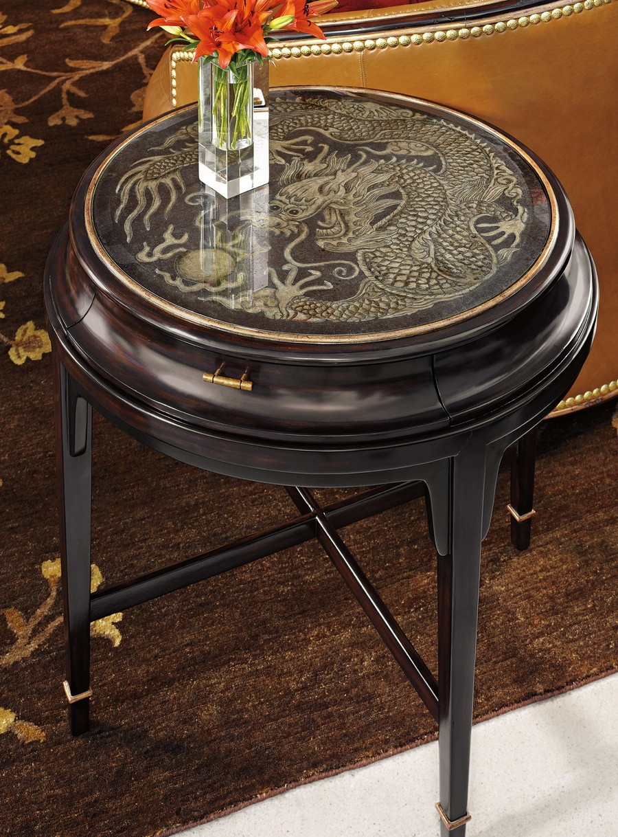 TaoRound EndTable shown with:Sumatra finish withBurnished Silver Leaf trimMedici Nickel hardware