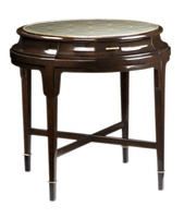 Tao Round End Table shown with:Sumatra finish withBurnished Silver Leaf trimMedici Nickel hardwareSpirograph hand painted glass top