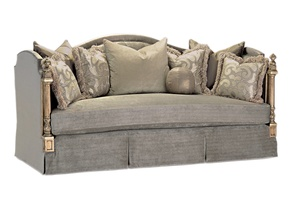 Trianon Court Sofa shown with: Boxed bench seatWaterfall skirt with built-in sidesContrast panel along arms and backPompeiifinishSilver Starnailhead frame trim