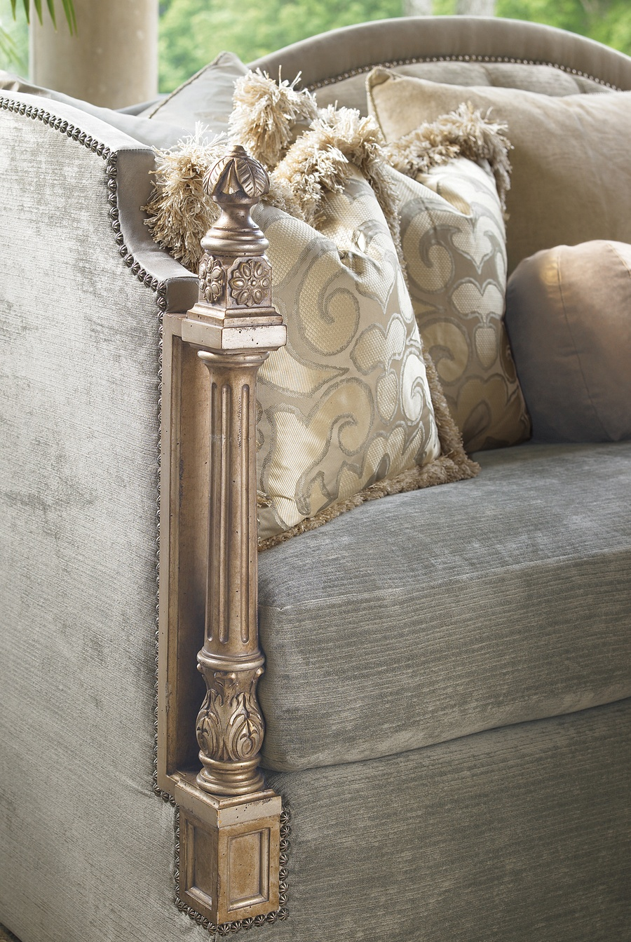 Trianon Court Sofa shown with: Boxed bench seatWaterfall skirt with built-in sidesContrast panel along arms and backPompeii finishSilver Star nailhead frame trim