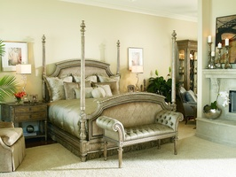 Trianon Court Poster Bed shown with:Upholstered quilted headboard and footboardPompeii finishSilver Star nailhead frame trim