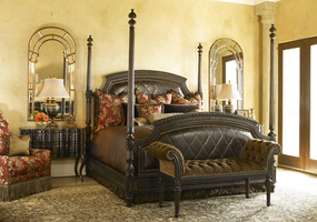 Trianon Court Poster Bed shown with:Upholstered quilted headboard and footboardZanzibar nailhead frame trim