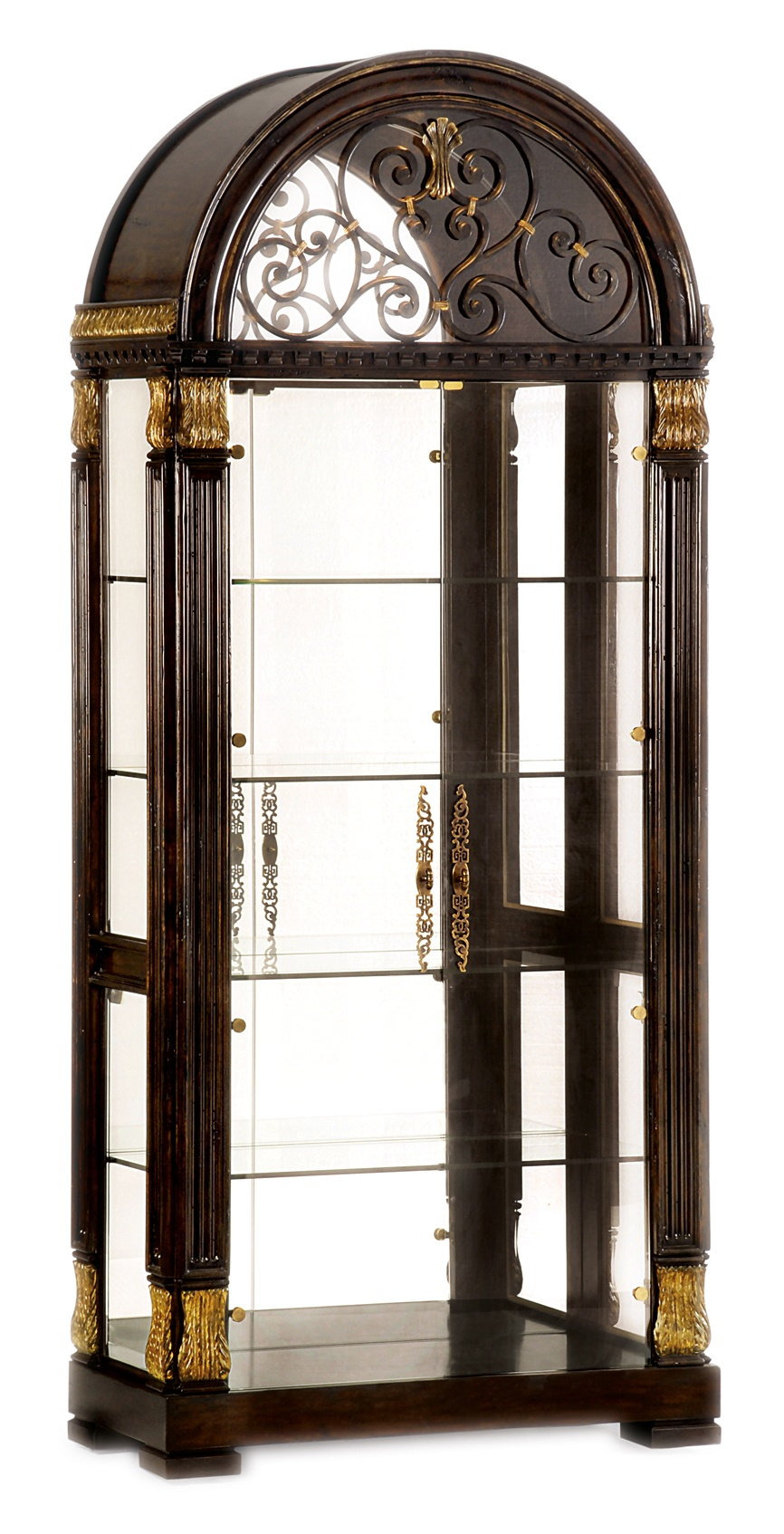 Villa Argenta Display Cabinet shown with:Old World Havana finishAged Gold Leaf finish trimDecorative metal grill in Aged Metal finish withAged Gold Leaf finish trimAntique Brass hardware