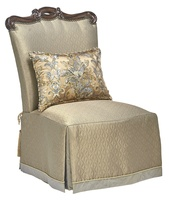 Versailles Chair shown with:Tight seatWaterfall skirt with dressmaker back and Button Golden Jewel detailHavana finish with Burnished Silver leaf finish trimTassel ties