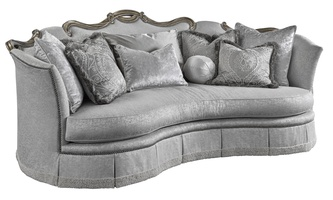 Versailles Sofa shown with: Boxed bench seat Deep skirt with built-in sides and back and decorative button detailTape trim at bottom edge of skirtBronzed Silver finish with Verona Silver leaf finish trimSilver Star nailhead frame trim