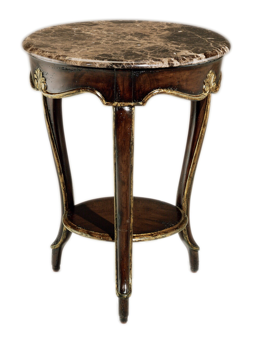 Vouvray Side Table shown with:Old World Briar finish withAged Gold Leaf finish trimPolished Madeira Marble top