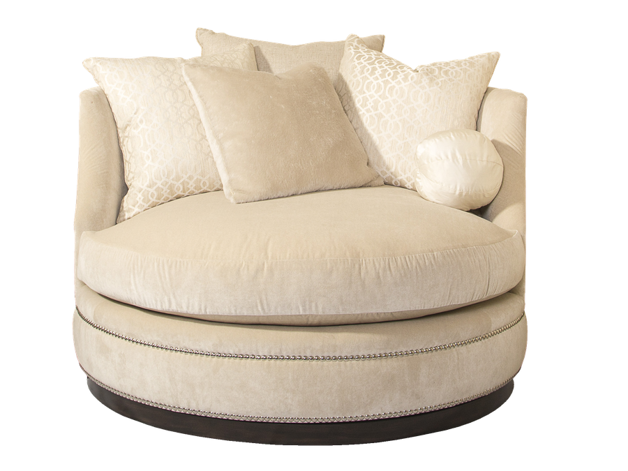 WaverlyChair and A Half shown with: Boxed seat cushionBuilt-to-the-floor with plinth base in Bombay finish Silver nailhead frame trim