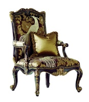 William Chair shown with:Tight seat and backOld World Sumatra finishAged Gold Leaf finish trimBronze Star nailhead frame trim