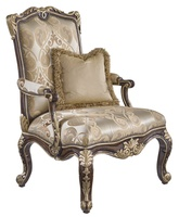 William Chair shown with:Tight seat and backHavana finishBurnished Silver Leaf finish trimAntique Brass nailhead frame trim