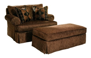 Santa Barbara Ottoman shown with:STB67 Santa Barbara Chair and A HalfSemi-attached boxed cushionWaterfall skirt